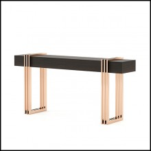 Console with eucalyptus top in smocked matt finish and with polished stainless steel base in copper finish 174-Reed