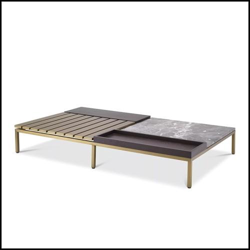 Console avec structure en acier finition gold et avec plateau en marbre noir 162-Romero Black