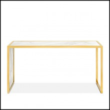 Console with polished steel structure in gold finish and with white marble top 162-Romero White