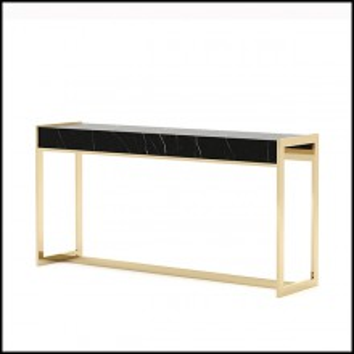 Console avec plateau en marbre noir Sahara et avec structure en acier inoxydable poli finition gold 174-Tanja