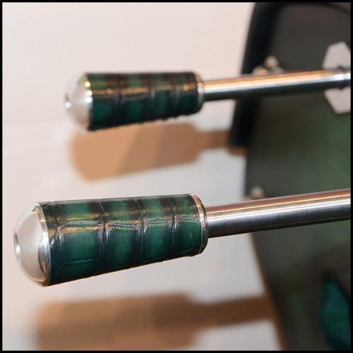 Bureau avec structure en bois finition chêne noir et avec structure en acier finition noir mat 173-Black Oak