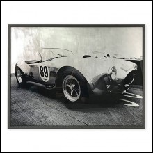 Print on acrylic of a cobra AC racing car with silver leaf highlights with blackened frame 192-Cobra