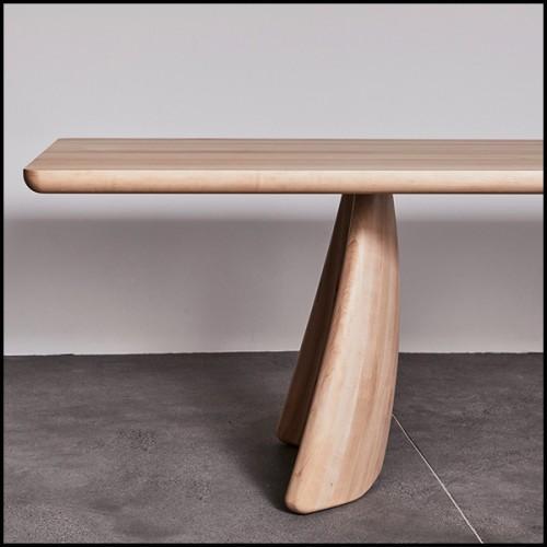 Table basse rectangulaire en frêne massif et avec plateau en marbre Burkina noir 173-Doriana Rectangular