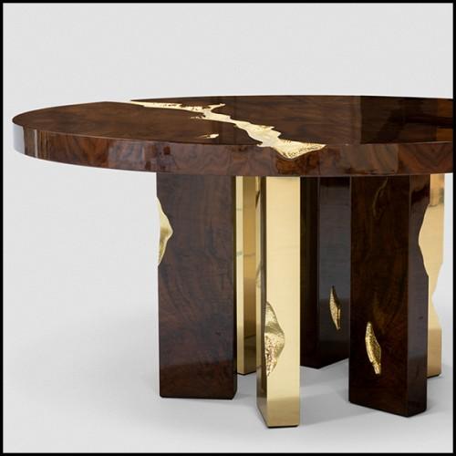 Table basse avec base en acier laquée noire et avec plateau en verre trempé 194-Longarm