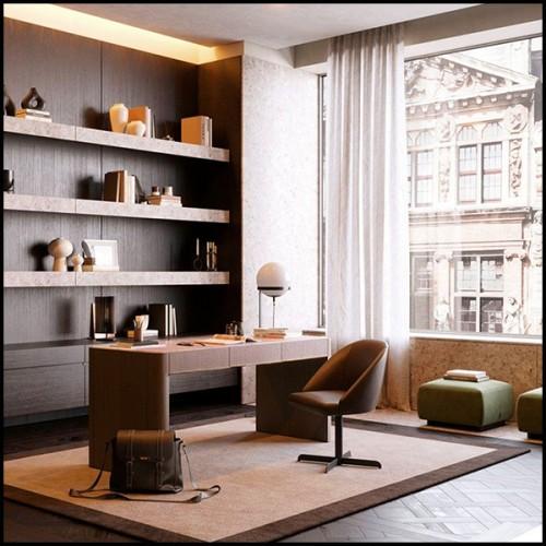 Table de repas avec structure en bois de noyer massif avec partie centrale en fer forgé laqué fin 154-Sharing