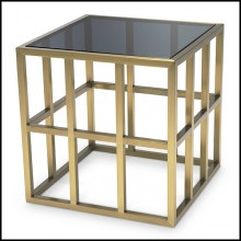 Side Table with structure in brushed brass with smocked glass top 24-Saint Lazare