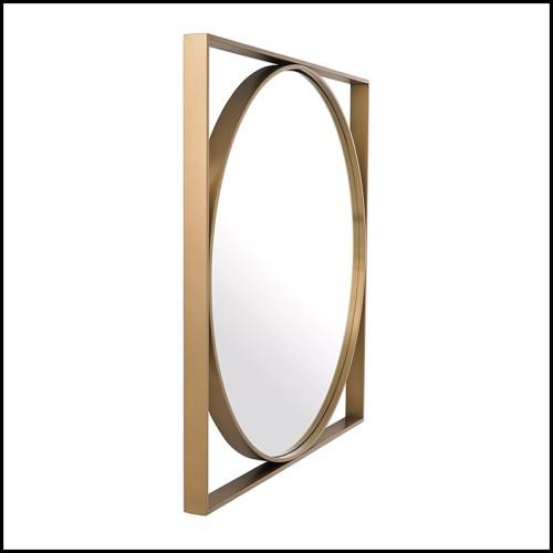 Table d'appoint finition laiton brossé avec plateau en verre fumé 24-Saint Lazare