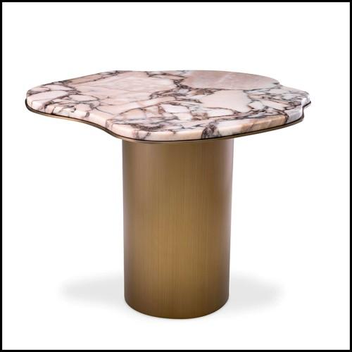 Table d'appoint finition acier inoxydable poli avec plateau en verre fumé 24-Saint Lazare