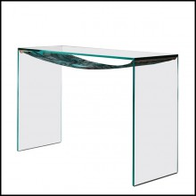 Console table with extra clear glass with leaves printed on fabric under the top 194-Green Leaves