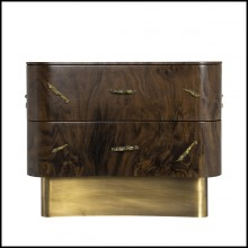 Chevet avec structure en bois avec placage en noyer et détails en laiton poli et base en laiton brossé 155-Tarius