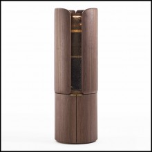 Bar in solid walnut wood covered with solid brass in brushed finish with USB rechargeable LED light 163-Adria