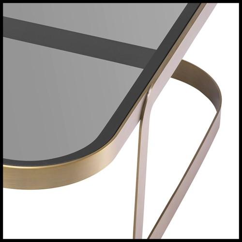 Table d'appoint set de 2 en frêne massif finition coffee avec plateaux en marbre dark grey 163-Asher Set of 2