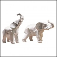 Sculptures all in white ceramic 195-elephants set of 2