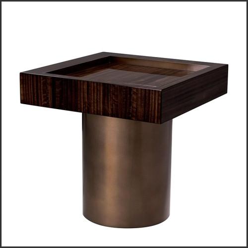 Table basse avec structure en acier finition bronze avec plateau en verre fumé 162-Evoca