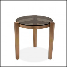 Side Table in bronzage finish and with smocked glass top 162-Evoca
