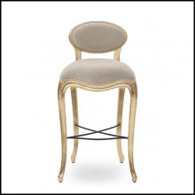 Barstool in mahogany wood in gold leaf finish covered with fabric Alcantara soft grey 119-Flore