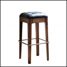 Bar stool in solid walnut wood with stainless steel footrest and covered with black genuine leather 163-Leon