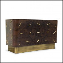 Chest of drawers in solid walnut veneer with polished brass details and brushed aged brass base 155-Tarius