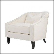 Armchair in mahogany wood covered with high quality ivory genuine leather 119-Becky