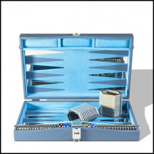 Backgammon in grained leather with nickel-plated brass details and game accessories 186-Bluesky