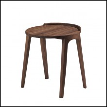 Side table all in solid handcrafted walnut wood 163-Terry