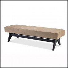 Bench in black wood with beige nubuck leather.