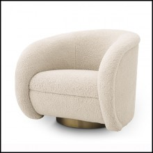 Armchair with brushed brass swivel base and covered with faux fur brisbane fabric -24Cristo