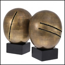 Object Artistic set of 2 in vintage brass finish and with black granite structure 24-Artistic set of 2.
