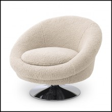 Armchair covered with bouclé cream fabric and nickel finish swivel base 24-Nemo