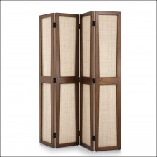 Folding screen  in mindi wood classique brown finish and panel in natural cane