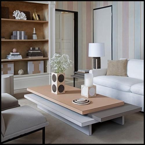 Paravent en  bois massif finition classique brown et panneaux en canne naturelle