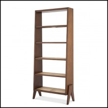 Bookcase in wood with classic brown finish and rattan cane shelves 24-Raynard