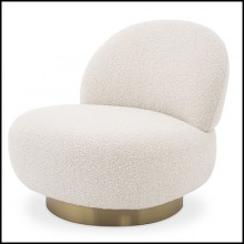 Armchair in brushed brass finish covered with cream bouclé fabric 24-Swivel Clément