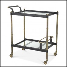 Trolley in stainless steel in vintage brass finish and black leather on wheels with 2 bevelled glass top 24-Princess
