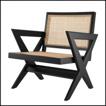 Armchair in solid wood with classic black finish and rattan 24-Augustin