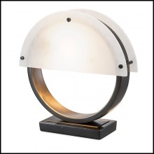 Lampe à poser en alabaster et finition bronze highlight avec base en marbre noir 24-Essence