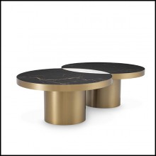 Coffee Table in brushed brass finish with ceramic marble look top 24-Pullman