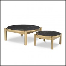 Set of 2 Coffee table in stainless steel brushed brass finish with ceramic top 24-Quest