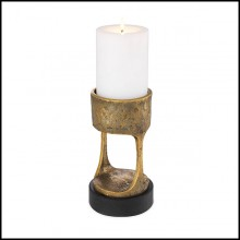 Candle Holder in vintage brass finish with black granite base 24-Bologna s