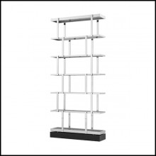 Cabinet in polished stainless steel finish with solid wood base with smoke glass shelves 24-Nesto