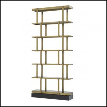 Cabinet in stainless steel brushed brass finish with solid wood base 24-Nesto