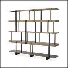 Cabinet in brushed brass finish and smoked glass shelves 24-Mercure