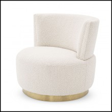 Armchair with brushed brass swivel based and covered with bouclé cream fabric 24-Alonso