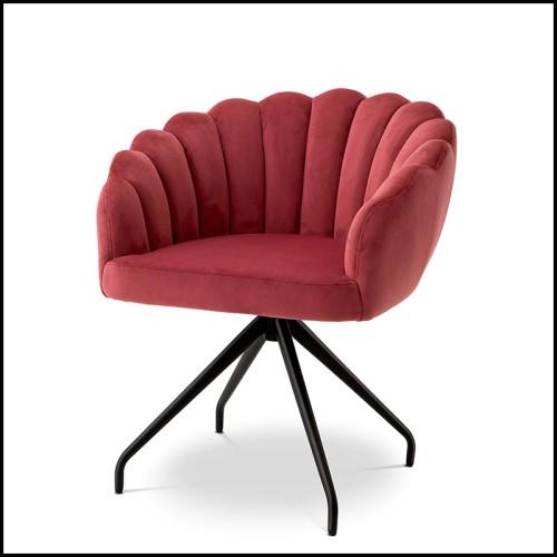 Chaise en hêtre couvert avec nubuck bleu 24-Milo