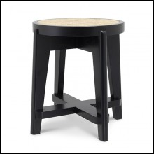 Tabouret en bois massif finition classic black et assise en rotin naturel 24-Dareau