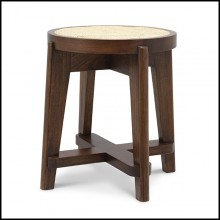 Tabouret en bois massif finition classic brown et assise en rotin naturel tissé à la main 24-Dareau