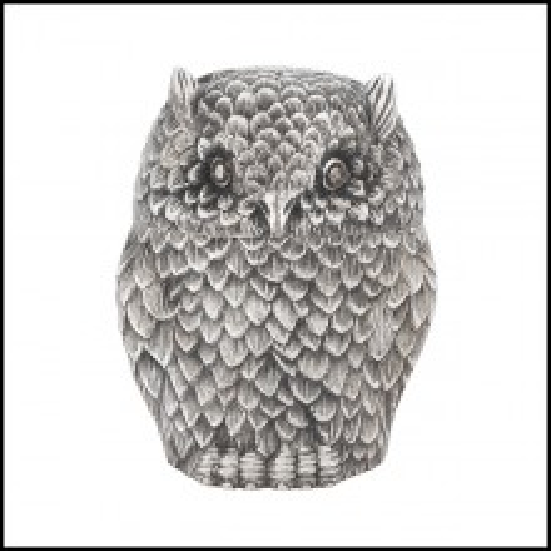 Boîte en laiton finition plaqué argent antique 24-Owl