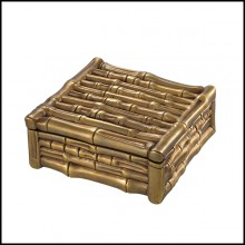 Boîte en laiton finition vintage 24- Bamboo Square