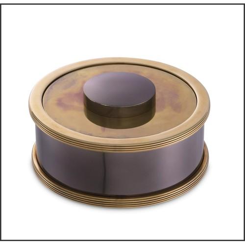 Miroir avec structure finition laiton brossé sur plaque de verre fumé 24-Quinn