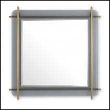 Mirror with structure in brushed brass finish on smoked glass plate 24-Quinn